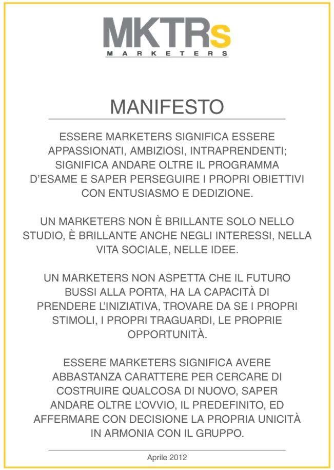 marketers club manifesto